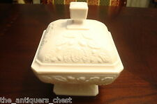 Shell Pink Milk Glass Square Covered Footed Candy Dish/Acorn  by Jeannette[a10]
