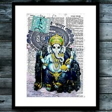 Bohemian Spiritual Elephant India Modern Art Print Vintage Dictionary Poster