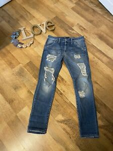 ❤️tolle Jeans Blogger Please P85❤️Gr. XS 34 36❤️Nähte Relaxed Fit🖤Flicken