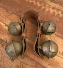 Antique Brass/Bronze Horse graduated Large Sleigh Bells Leather Strap Christmas
