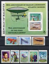 Malediven 1977 Lindbergh Flugzeuge Zeppelin Luftfahrt 721-728 B Block 47 B MNH