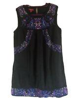 16 Monsoon black & multicolour embroidered smock dress