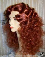Drag Queen Wig Frizzy Shoulder Length Auburn Red Finger Waves