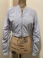 Guess Women Cropped Bomber Jacket Full Zip Windbreaker Size S Light Blue