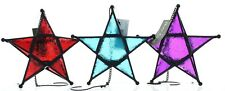 Fountasia Glass & Metal Star Tealight Holder Hanging Moroccan Style 3 Colours