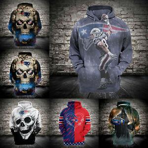 New England Patriots Men Hoodie Football Pullover Sweatshirt Sport Hooded Jacket