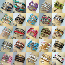 Fashion Boy's Or Girl's Cuff Friendship Woven Rope Charm Bangle Bracelet  U Pick