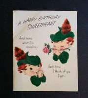 Vintage Norcross Greeting Card Happy Birthday Velvet Elf Pixie Card 25SB857
