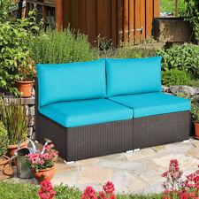Gymax 2Pcs Patio Wicker Rattan Sectional Armless Chair Sofa W/ Turquoise Cushion