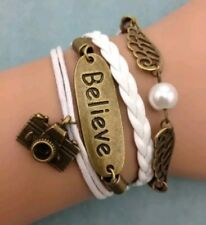 New Infinity Camera Believe Wings Bronze Charm White Leather Bracelet Ships Fast