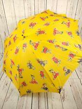 Vintage Childrens Parasol Umbrella Teddy Bear Yellow Auto Opening