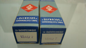 PAIR OF NOS 1958 LA RADIOTECHNIQUE RT 12AU7 TUBES TESTED ON AMPLITREX