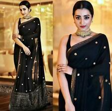 Black Saree Sequence Saree Georgette with Blouse Fancy Party wear Ethnic Saree