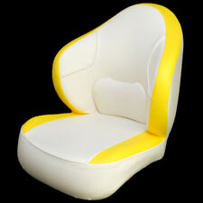 DELUXE WHITE / YELLOW VINYL BOAT CAPTAIN / BUCKET /FISHING SEAT CHAIR (SINGLE)
