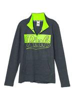 VICTORIA'S SECRET Pink Fleece High & Low Half Zip Sweater XSmall NWT Gray,Lemon