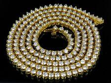 14k Yellow Gold Martini Prong Set 1 Row 4 MM Diamond Chain Necklace 21 Ct