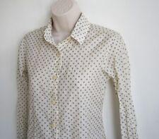 Raleigh Denim Workshop Semi Sheer Buttons Down Polka Dot Cotton Silk Shirt Sz XS