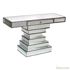 DUSX Vintage Venezia Antique Silver Mirrored Style Console Table