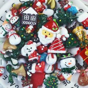10/30pcs Mixed Resin Merry Christmas Series Flatback Cabochon Embellishments DIY