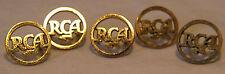 LOT OF FIVE VINTAGE GOLD-TONE RCA RADIO METAL EMBLEM LOGO PARTS