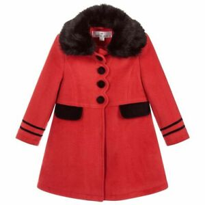 Girls Designer Fully Lined Classic Lined Red And Black Coat With Hat