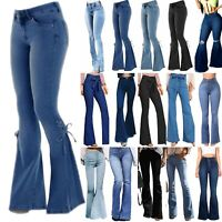 Women's Skinny Flare Denim Jeans High Waist Bell Bottoms Wide Leg Pants Trousers