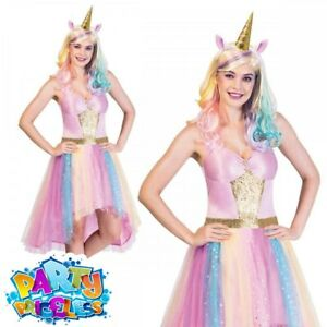Adult Mystic Unicorn Costume Fairy Tale Ladies Hen Party Fancy Dress Outfit