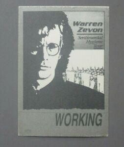 Warren Zevon backstage pass satin sticker Sentimental Hygiene AUTHENTIC GRAY !