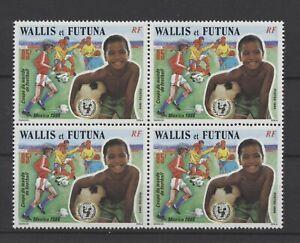 [P25449] Wallis Futuna 1986 soccer good block of 4 VF MNH stamp