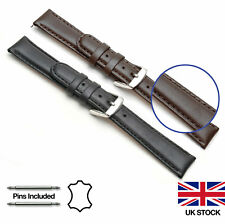 Mens Ladies Genuine Calf Leather and Nubuck Padded Watch Strap 12-22mm Width