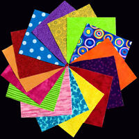 30 PATCHWORK Pieces CHARM PACK - Bright Colours - 100% COTTON Quilting Fabric
