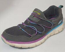 Skechers 11793 Loving Life Gray Purple Slip On Sneakers Womens 7 Med memory foam