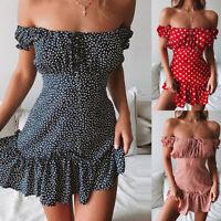 Womens Sexy Off Shoulder Polka Dot Mini Dress Summer Beach Holiday Ruffled Frill