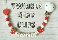 Personalised Wooden Dummy Clip Red White Baby Strawberry Love Heart Girl Gift