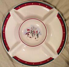 "Royal Seasons Stoneware 14""dia Divided Platter Snowmen Snowman Christmas Plate"