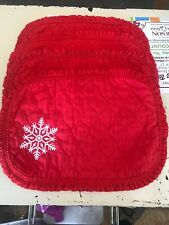 Set of 4 Vintage Christmas Fabric Embroidered Snowflake Quilted Placemats Red