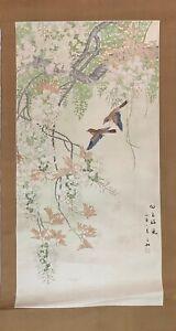 Vintage JAPANESE Floral Hand Painted Watercolor Silk Artwork Scroll Painting B