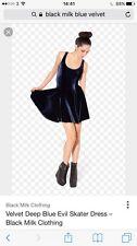 Black Milk Clothing Velvet Deep Blue Evil Skater Dress Small 8