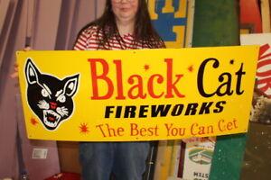 """Large Black Cat Fireworks Firecracker 4th Of July 40"""" Porcelain Metal Sign"""