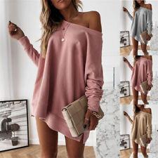 Womens Off Shoulder Sweater Ladies Blouse Sweatshirt Baggy Jumper Pullover Tops