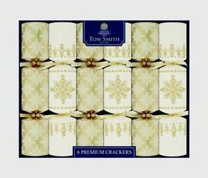 6 x Tom Smith Premium Merry Christmas Xmas Crackers - Cream And Gold