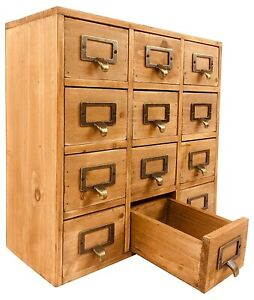 Handmade 12 Drawers Rustic Solid Wood Desktop Storage Chest Organiser Cabinet