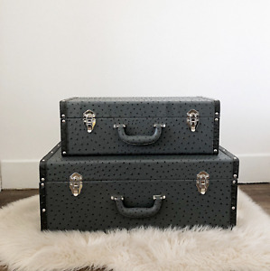 Grey Faux Ostrich Suitcase Trunks (Set of 2)