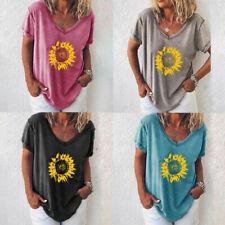 T-shirt Dolman V-neck Top Sunflower Loose Tops sleeve Plus Size Womens Print