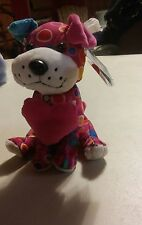 038 Cute Pink Multi Color Stuffed Love Dog Wal-Mart Stores 7 Inch