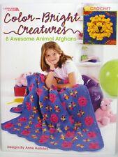 Color Bright Creatures Crochet Pattern Book 8 Animal Afghans Bear Dog LA 3362