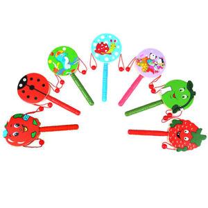 AU_ IC- FE- HD_ Wooden Cartoon Animal Handheld Musical Education Rattle Drum Sha