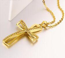 Collar Cadena Collar Cruz Colgante Circonia Oro AMARILLO CHAPADO IDEA DE REGALO