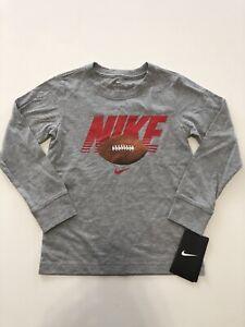 NWT Nike Boys Youth Long Sleeve Shirt Tee Football Gray Size M 5/6