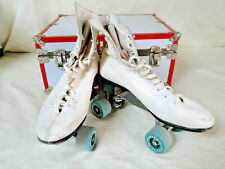 Vintage Arrow Skate Roller Skates White Woman's Size 9 Leather w/ Carrying Case